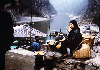 The Three Little Gorges -- a woman selling tea eggs.